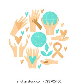 Philanthropy design, vector donation concept, charity illustration.