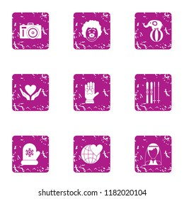 Philanthropy icons set. Grunge set of 9 philanthropy vector icons for web isolated on white background