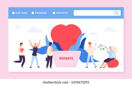 Philanthropy landing page. Charity or donation vector banner template with heart and volunteers. Illustration donation assistance, philanthropy and donation help