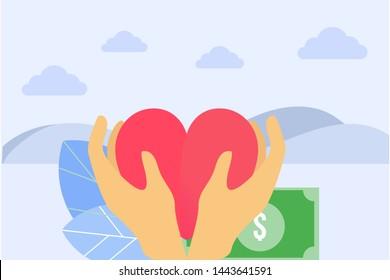 Philanthropy vector concept. Volunteering flat concept. Fundraising. vector illustration concept for web landing page template, banner, flyer and presentation