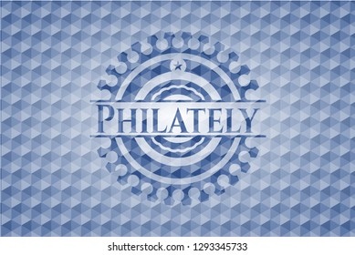 Philately blue emblem or badge with abstract geometric polygonal pattern background.