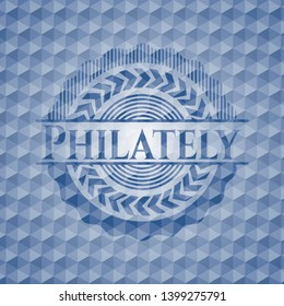 Philately blue emblem or badge with geometric pattern background. Vector Illustration. Detailed.