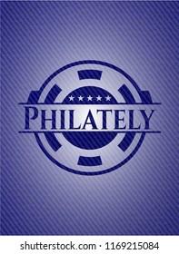 Philately emblem with denim texture