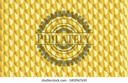 Philately gold shiny badge. Scales pattern. Vector Illustration. Detailed.