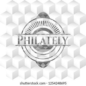 Philately grey badge with geometric cube white background