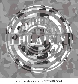 Philately grey camo emblem