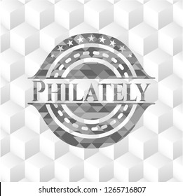 Philately grey emblem. Vintage with geometric cube white background
