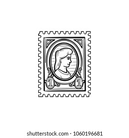 Philately hand drawn outline doodle icon. Postage stamp vector sketch illustration for print, web, mobile and infographics isolated on white background.