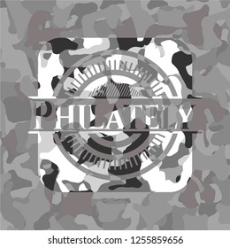 Philately on grey camo pattern