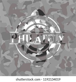 Philately on grey camouflaged pattern