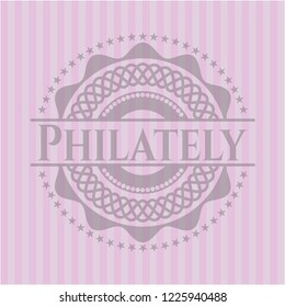Philately pink emblem. Retro