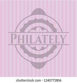 Philately pink emblem. Vintage.