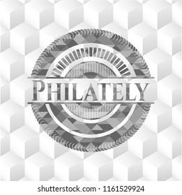 Philately realistic grey emblem with geometric cube white background
