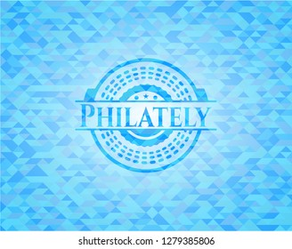 Philately realistic sky blue mosaic emblem