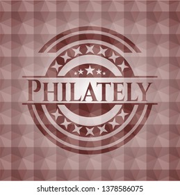 Philately red emblem with geometric pattern background. Seamless.