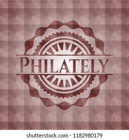 Philately red seamless emblem or badge with abstract geometric pattern background.