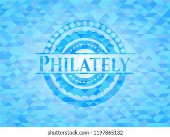 Philately sky blue mosaic emblem