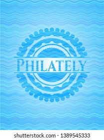 Philately water wave representation badge background. Vector Illustration. Detailed.