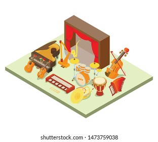 Philharmonic concept banner. Isometric banner of philharmonic vector concept for web, giftcard and postcard