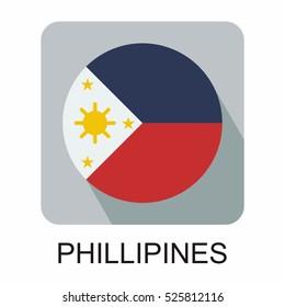 philipines flag, flat design vector south east asia  flag design