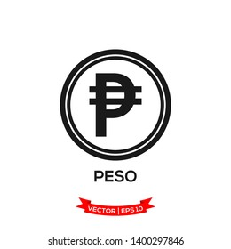 PHILIPPINE banking currency symbol, peso vector icon