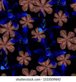 Philippine Flowers. Big Texture in Fresh Colors. Vintage Background for Dress, Underwear, Swimwear. Seamless Pattern with Hawaiian Rainforest. Vector Seamless Pattern with Philippine Flowers
