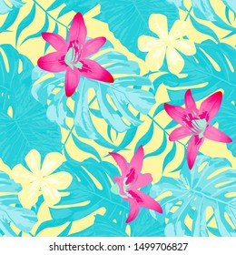 Philippine Flowers. Big Texture. Seamless Tropical Pattern with Hawaiian Jungle. Vintage Background for Swimwear, Dress, Paper. Vector Seamless Pattern with Philippine Flowers