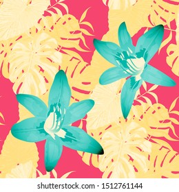Philippine Flowers. Big Texture. Vintage Background for Tablecloth, Shirt, Dress. Seamless Tropical Pattern with Hawaiian Rainforest. Vector Seamless Pattern with Philippine Flowers