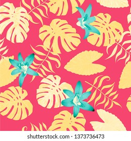 Philippine Flowers. Retro Background for Wallpaper, Dress, Underwear. Big Texture. Seamless Tropical Pattern with Hawaiian Jungle. Vector Seamless Pattern with Philippine Flowers
