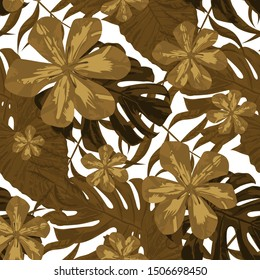 Philippine Flowers. Retro Background for Wallpaper, Dress, Swimwear. Seamless Tropical Pattern with Hawaiian Jungle. Big Texture. Vector Seamless Pattern with Philippine Flowers