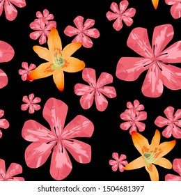 Philippine Flowers. Seamless Pattern with Brasilian Jungle. Big Texture in Fresh Colors. Trendy Background for Dress, Tablecloth, Cloth. Vector Seamless Pattern with Philippine Flowers