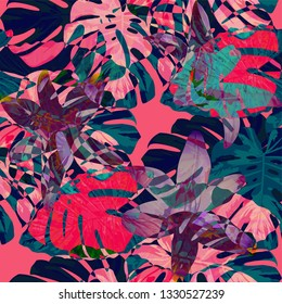 Philippine Flowers. Seamless Pattern with Bright Tropical Flowers and Leaves. Retro Seamless Texture for, Curtain, Wallpaper, Dress. Vector Seamless Pattern with Philippine Flowers