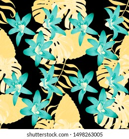 Philippine Flowers. Seamless Tropical Pattern with Brasilian Jungle. Big Texture. Vintage Background for Shirt, Wallpaper, Dress. Vector Seamless Pattern with Philippine Flowers