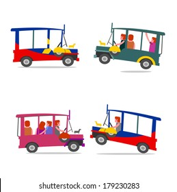 Philippine jeep cartoon. Filipino jeep local transport