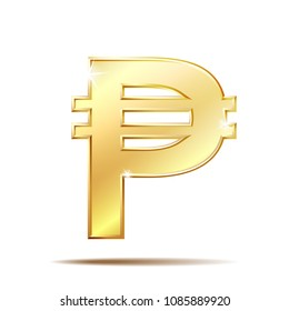 Philippine peso currency symbol, golden money sign, vector illustration on white background