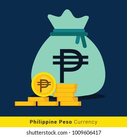 Philippine Peso Money bag icon with sign