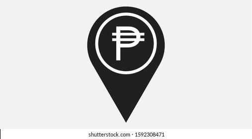 Philippine Peso pointer icon. Philippine Peso with location icon. Philippine Peso map marker. Philippine Peso exchange map marker filled vector icon