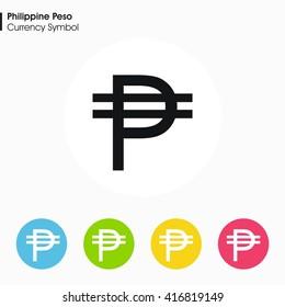 Philippine Peso sign icon.Money symbol. Vector illustration.
