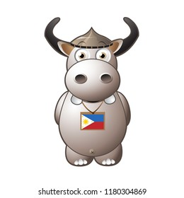 Philippine Water Buffalo or the Carabao Vector Character Illustration