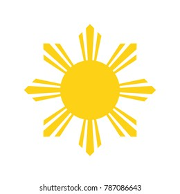 Philippine Yellow Sun. National symbol of Philippines. Abstract concept. Vector illustration on white background.