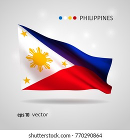 Philippines 3D style glowing flag fluttering on the wind. EPS 10 vector created using gradient meshes isolated on light background. Shiny design element from world flags collection