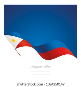 Philippines abstract wave flag ribbon vector background