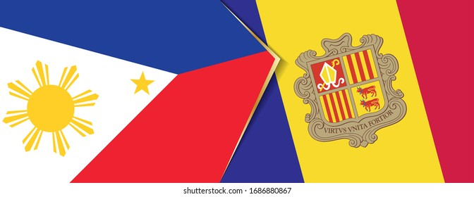 Philippines and Andorra flags, two vector flags symbol of relationship or confrontation.