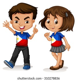 Philippines boy and girl greeting illustration