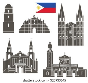 Philippines buildings logo. Abstract Philippines buildings on white background. EPS 10. Vector illustration