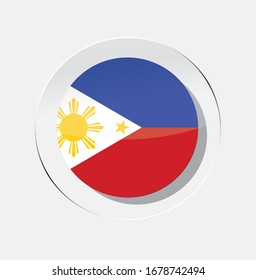 Philippines country flag circle icon with white background