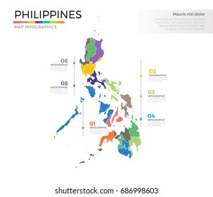 Philippines country map infographic colored vector template with regions and pointer marks