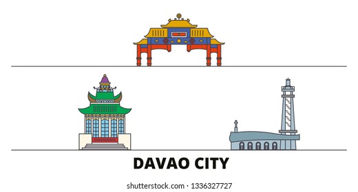 Philippines, Davao City flat landmarks vector illustration. Philippines, Davao City line city with famous travel sights, skyline, design.