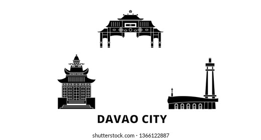 Philippines, Davao City flat travel skyline set. Philippines, Davao City black city vector illustration, symbol, travel sights, landmarks.