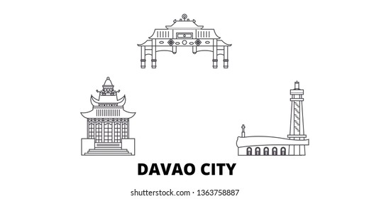 Philippines, Davao City line travel skyline set. Philippines, Davao City outline city vector illustration, symbol, travel sights, landmarks.